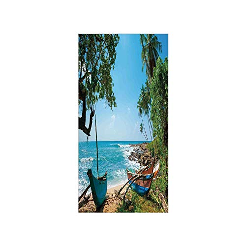 (3D Decorative Film Privacy Window Film No Glue,Beach Decor,Tropical Ocean Scenery with Palm Trees and Fishing Boats Caribbean Landscape,Green Blue,for Home&Office)