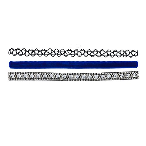 Lux Accessories Black Tattoo Blue Velvet Suede Sticker Stone Choker Set 3Pc -