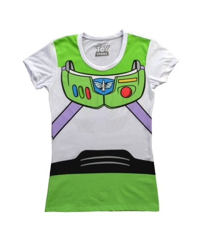 Toy Story Buzz Lightyear Juniors Astronaut Costume White T-shirt (Juniors X-Large)