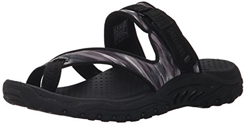 Skechers Women's Reggae Brush Strokes Flip Flop, Black/Grey, 8 M US