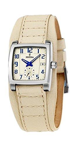 Festina F16181/2 - Reloj de mujer de cuarzo, correa en piel color blanco hueso: Amazon.es: Relojes