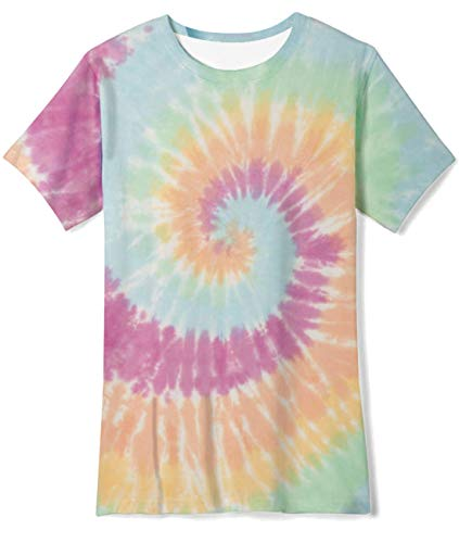 Youth Colorful Tie-Dye T-Shirt Crewneck Tee Top Short Sleeve Activeshirts for Playing Basketball Size 14-16T Pastel Rainbow