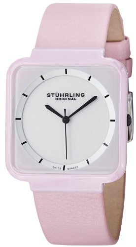 Stuhrling Original Womens 438.12OOA2 Leisure Ceramic Carnivale Swiss Quartz Ultra Slim Pink Ceramic Case Watch