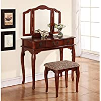 Enchanting Cherry Vanity Set with Oval Mirror and Matching Stool
