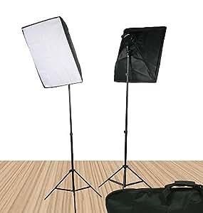 Video Lighting Kit Photo Studio Kit 2000 Watt Continuous Portrait studio lighting kit with Carrying Case - 2 light stands, 2 softboxes, 2 Light Heads w/5 bulbs, 10 photo bulbs by Fancierstudio UL9026S