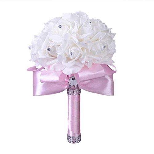 (ZTTONE Wedding Bouquet, Crystal Roses Pearl Bridesmaid Wedding Bouquet Bridal Artificial Silk Flowers (Pink))