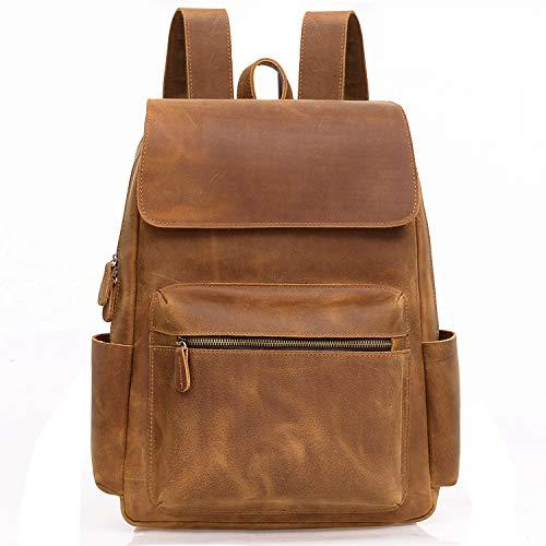 Jack&Chris Genuine Leather Backpack Laptop School College Bag for Men and Women,1802-7 ()