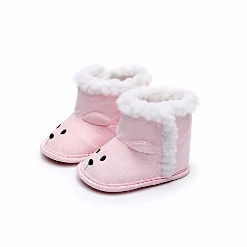 cinnamou Kleinkind Baby Mädchen Warm Halten Schneestiefel Weiche Sohlen Krippe Schuhe Kleinkind-Stiefel - Anti-Rutsch-warme weiche Sohle Schuhe Rosa