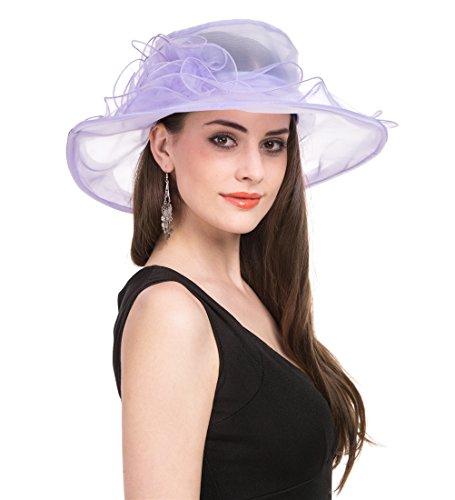 Saferin Women's Organza Church Derby Fascinator Bridal Cap British Tea Party Wedding Hat (Light Purple) (Spring Church Hats)