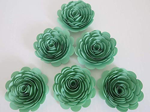 Handmade Paper Flowers, Mint Green 3 Inch Roses, Set of 6, Baby Shower Table Decoration Ideas, Wedding Place Card Holder, Pastel