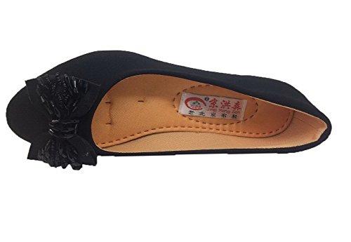 Toile Légeres à Chaussures Rond Couleur Femme Bas Noir Talon Tire AalarDom Unie qx7HgnCv