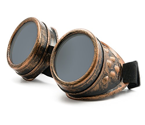 4sold (TM) Steampunk Antique Copper Cyber Goggles Rave Goth Vintage Victorian like Sunglasses all pictures (goggle copper with free lensses and stickers)