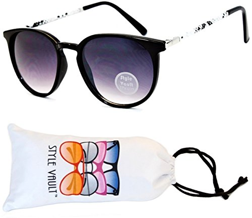 V155-vp Style Vault Round Style Cateye Sunglasses (P1777C #3 Black/White Snake-Smoked, - Print Animal Sunglasses Zoo