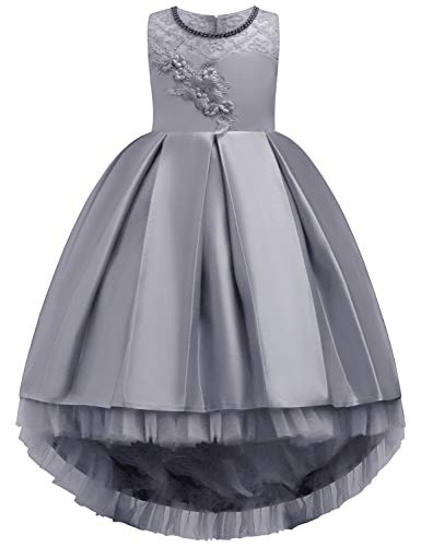 JOYMOM Gown Kids Dress,Girls Three-Dimensional Handwork Flower Lace Rosettes Puffy Tulle Dresses Lightweight Comfy Flattering Dressy Clothes Grey Size 140(7-8Y) -