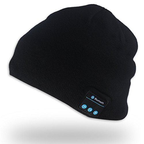 Bluetooth Beanie Hat with Speaker Wireless Stereo Headphone Headset with Microphone Hands Free for Sports Skating Hiking Camping (E202 Black)