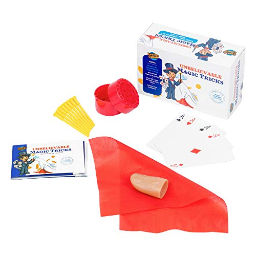 (Learn & Climb Unbelievable Magic Tricks for Kids Age 7,8,9,10-12 Set of 3 Unique Props kit Includes Appearing Silk Trick, Spiked Coin Trick , Kings to Aces Card Illusion & Easy to Follow Instructions)