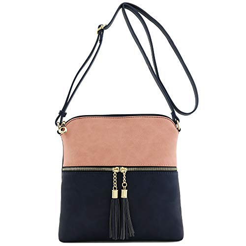Pocket Zip Tassel Navy Bag Crossbody Pink CgcqSW