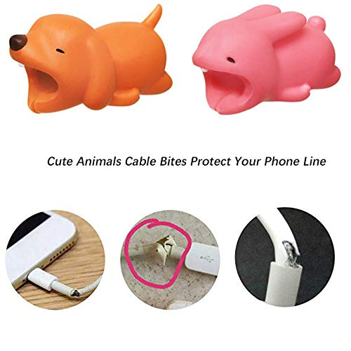 Varios Cute Animals Mordeduras de Cable Protector Chereres de Cable Accesorios de Cable Cables para el Tel/éfono Protege de Bending Break Kalolary 2 Pack Animal Cable Protector