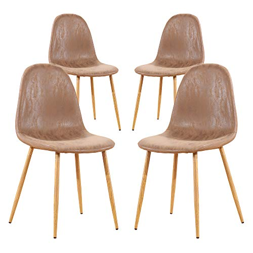 Teraves Dining Chairs Set of 4,Pu Kitchen Seat Chair with Metal Legs for Home Lounge Living Room
