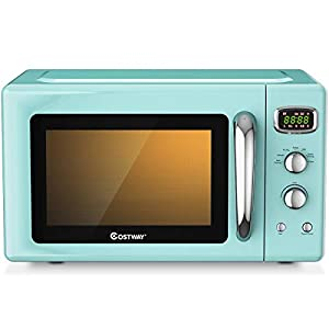 COSTWAY Retro Countertop Microwave Oven, 0.9Cu.ft, 900W Microwave Oven, with 5 Micro Power, Defrost & Auto Cooking… 6
