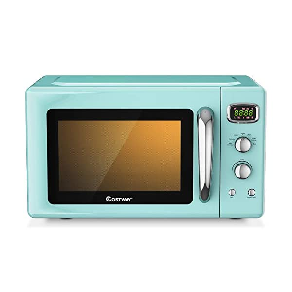 COSTWAY Retro Countertop Microwave Oven, 0.9Cu.ft, 900W Microwave Oven, with 5 Micro Power, Defrost & Auto Cooking… 1