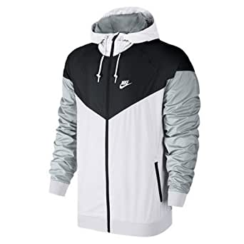 Nike Mens Windrunner Hooded Track Jacket White/Black/Wolf Grey 727324-101 Size Small