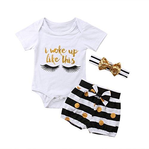 - Emmababy Baby Girls Infant Summer Romper I Woke up Like This Lash Print Bodysuit+ Bowknot Shorts Pants+ Hairband (2T-3T)