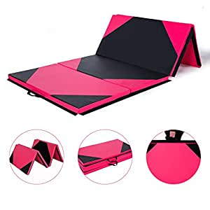 """Homevibes 4' x 10' x 2"""" Gymnastics Mat Thick Folding Panel Tumbling Mat Gym Exercise Aerobics Mat with Handle Compatibility with Yoga Cheerlanding Stretching Martial Arts, Pink & Black"""
