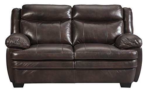 Ashley Furniture Signature Design - Hannalore Contemporary Leather Upholstered Loveseat - Café
