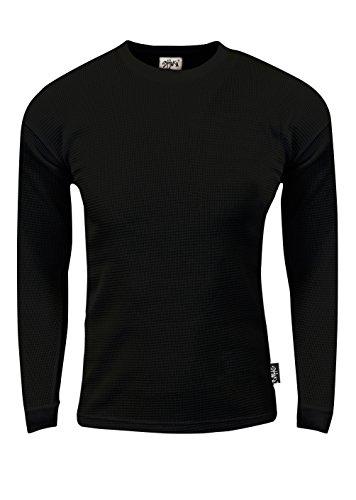 Waffle Crewneck Tee - Shaka Wear TC02_XL Thermal Long Sleeve Crewneck Waffle Shirt Black 1X