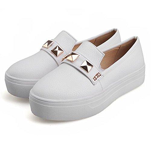 Summerwhisper Kvinna Trendiga Nitar Dubbade Låga Topp Loafers Halka På Plattforms Sneakers Vita