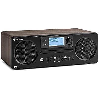auna Worldwide Internet Radio w Bluetooth Player w DAB DAB Tuner  Clock Radio  MP3-Compatible USB Port  Spotify Connect  AUX  App Control  Sleep Timer  Walnut