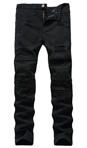 OKilr Pjik Men's Fashion Ripped Broken Hole Skinny Stretch Denim Jeans Black