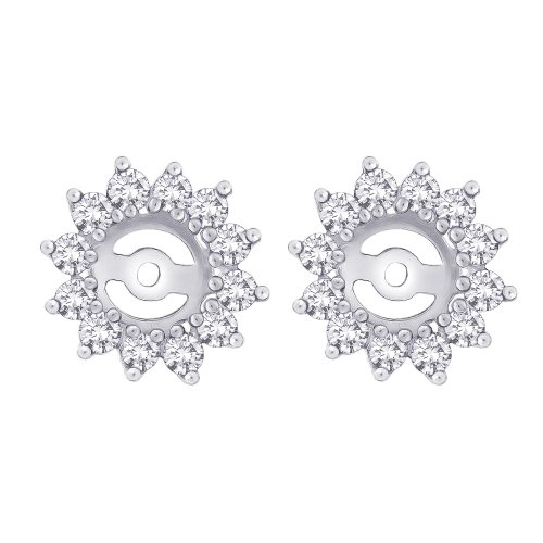 Diamond Floral Earring Jackets in 14K White Gold (1 cttw) (Color S, Clarity I3) by KATARINA