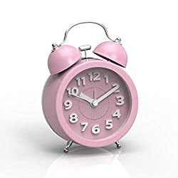PiLife 3 Mini Non-ticking Vintage Classic  Analog Alarm Clock with Backlight , Battery Operated Travel Clock, Loud Twin Bell Alarm Clock for Kids(Pink)