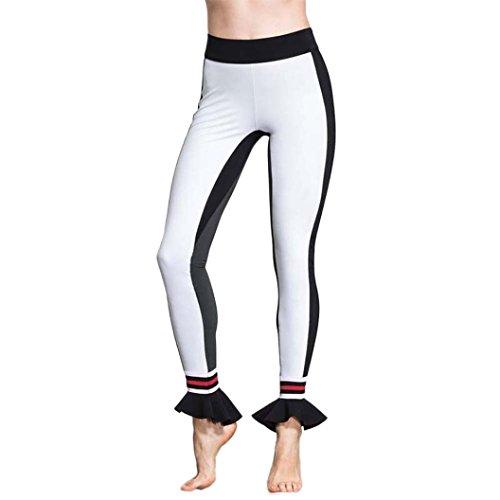 Ecurson Women Leggings Sports Gym Yoga Workout Fitness Lounge Comfy Floral Hem Athletic Pants (S)