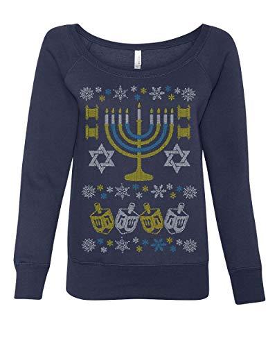 Tee Hunt Ugly Sweater Menorah - Sudadera para Mujer, diseño de Estrella de Israel, Azul Marino, XXL