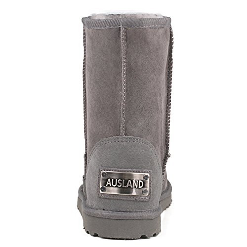 AUSLAND Snow 5125 Classic Water Boots Resistant f Gray Leather Mid Calf Women's nr10wZqWr