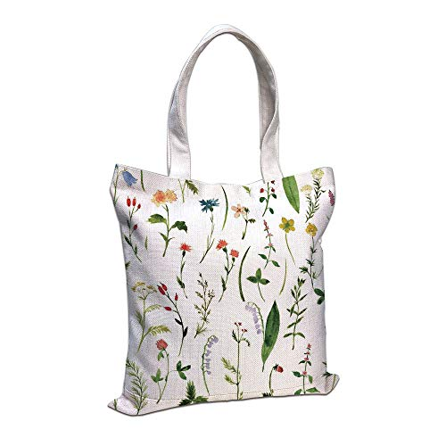 Personalized Petite Tote Bag - Cotton Linen Tote Bag, Watercolor Flower,Set of Different Kind of Flowers and Herbs Weeds Plants Petite Earth Element Print,Multi,for Shopping Camping School Casual Pocket