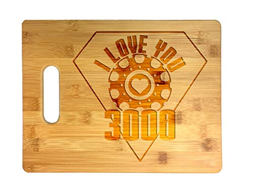 I Love You 3000 Metal Heart Reactor Film Parody Laser Engraved Bamboo Cutting Board - Wedding, Housewarming, Anniversary, Birthday, Father's Day, Gift