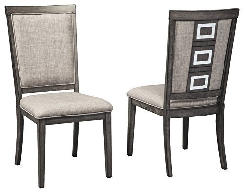 Cheap Ashley Furniture Signature Design – Chadoni Dining Side Chair – Set of 2 – Upholstered – Metal Accents – Smoky Gray Finish