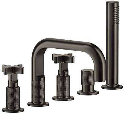 Grifo de bañera Gessi, cinco orificios con caño y desviador, colección Inciso