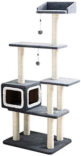 FTFDTMY Mehrschichtiger Katzenkletterrahmen, großes Massivholz-Katzenkratzbrett Quadratisches Katzenhaus Kratzbaum…