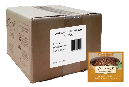 Numi Organic Tea, Honeybush, Caffeine-Free Herbal Teasan, 100 Count non-GMO Bulk Tea (Green Tea Organic Honey)