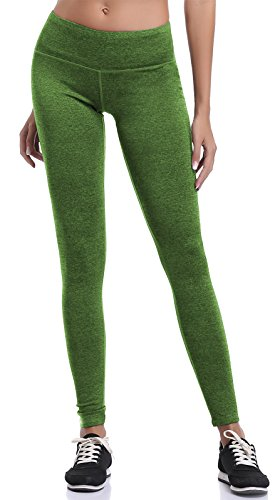 Aenlley Women's Athletic Yoga Pants with Hidden Pocket Workout Gym Spandex Tights Legging Color Green Size XL