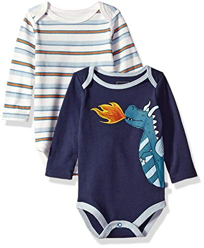 - Rosie Pope Kids' Toddler Baby 2 Pack Long Sleeve Bodysuits, Dragons, 6-9 Months