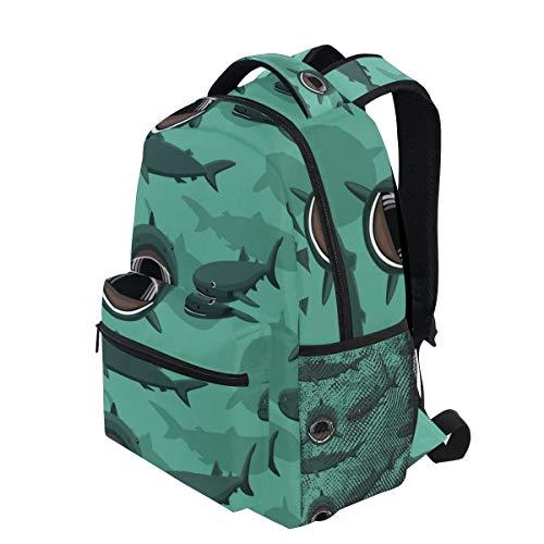 KVMV Megamouth Shark Cartoon Background Seamless Wallpaper Lightweight School Backpack Students College Bag Travel Hiking Camping Bags