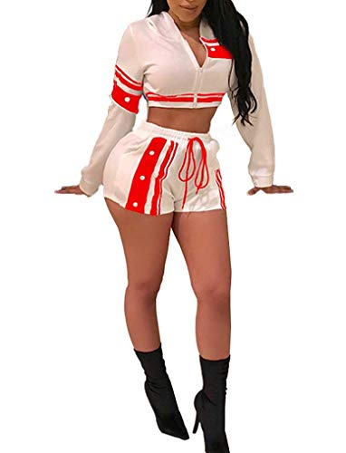2 Pieces Tracksuits for Women Solid Color Rainbow Striped Zip up Cropped Jacket + Shorts Pant - Shorts Striped Cropped
