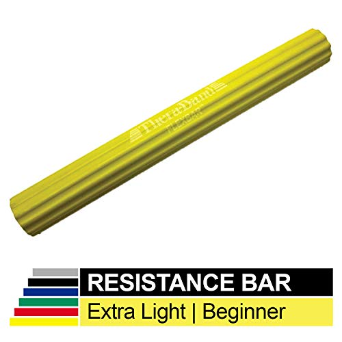 TheraBand FlexBar, Tennis Elbow Therapy Bar, Relieve Tendonitis Pain & Improve Grip Strength, Resistance Bar for Golfers Elbow & Tendinitis, Yellow, Extra Light, Beginner (Exercise Rubber Bands For Golfer)