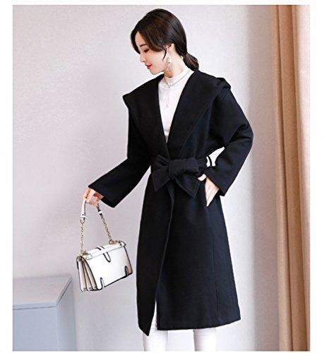and LD Coat Autumn Coat Winter Black Velvet Double Jacket Women Female It Long Color Woolen Hooded 5S5qA
